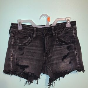 Black Ripped Jean Shorts